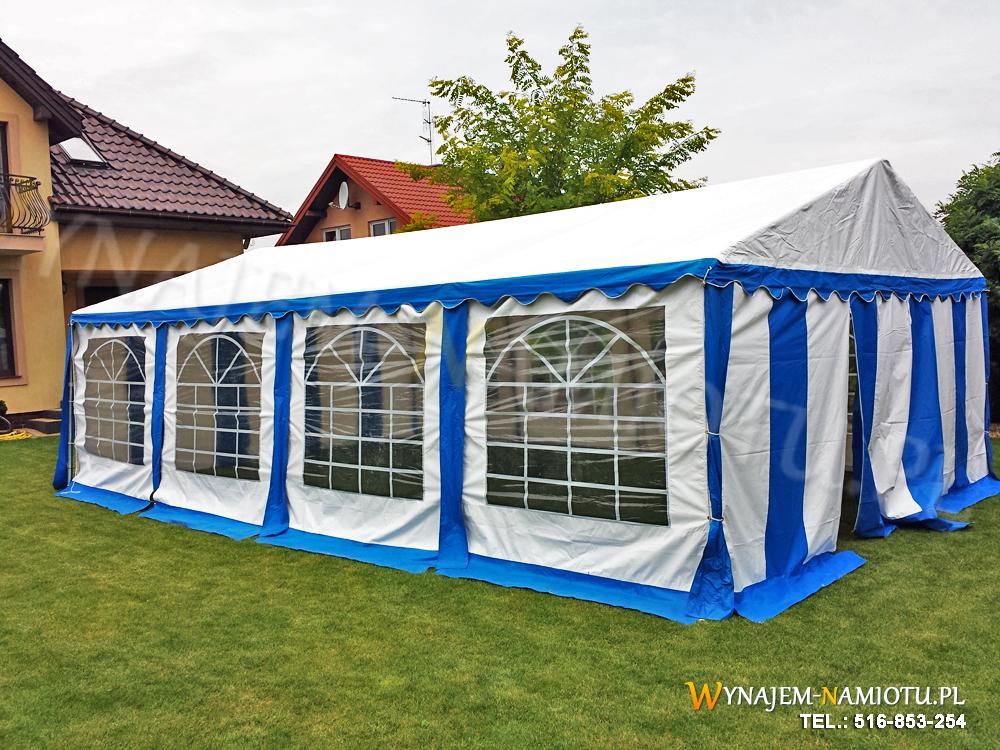 Namiot bialo niebieski 5x8 wynajem namiotu